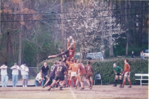 The 1997 Clemson Rugby Team competes in this archive 1997 photo.