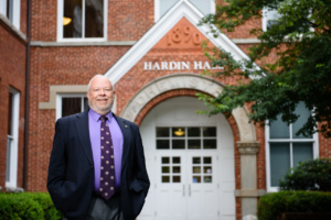 Clemson professor Vernon Burton stands outside Hardin Hall on campus