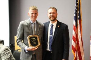 Jason Cronin, pictured with Director of Military and Veteran Engagement Brennan Beck, was named Outstanding Student Veteran for 2019.
