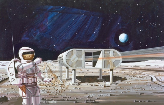 An artist's drawing of a moon colony: a futuristic building on stilts and a person in a spacesuit.