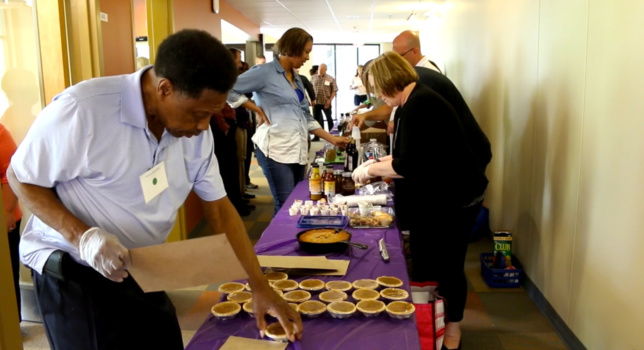 Recent graduates of Clemson's Food2Market program bring their creations for other participants to taste during a networking session at Clemson's Sandhills REC.