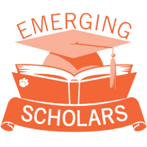 "The words ""Emerging Scholars"" lie above and below a graduation cap and open book"
