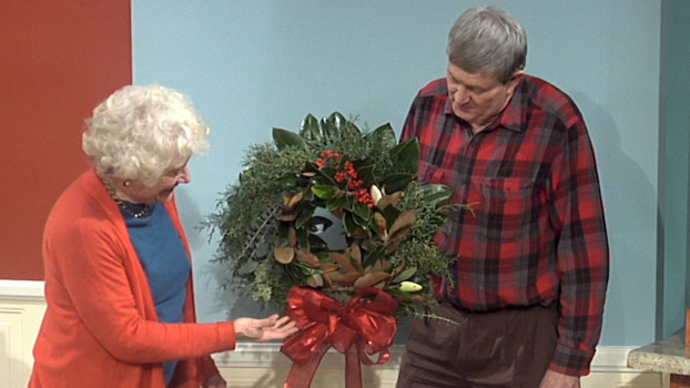 "Clemson Cooperative Extension agent and ""Making it Grow"" host Amanda McNulty (left) and fellow Extension agent Tony Melton discuss wreaths during the Holiday Special."