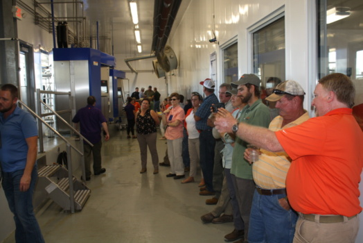 Photo of a crowd of people watching robotic dairy