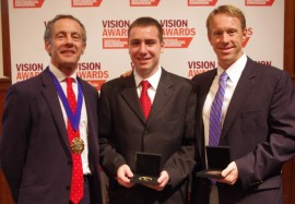 Patrick Kniveton (left), IMCHE president, presented the Stephenson medal to Wesley Salandro and Laine Mears (right). (Cristina Bunget not pictured).