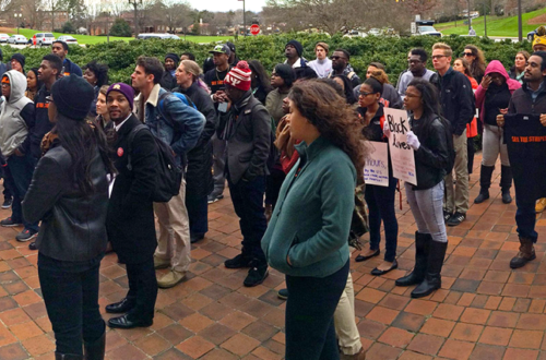 Students at Clemson marched on campus in early 2015. In this image, they are gathering in front of Sikes Hall, the campus administrative building.
