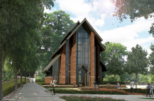An exterior view of the future Samuel J. Cadden Chapel.