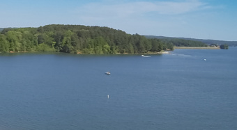 Aerial image of Hartwell Lake, taken from a drone.