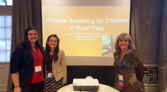 Kate Ramsey (left), Jenna Marie Baker (middle) presented research with their professor Roxanne Amerson at the Transcultural Nursing Society Conference.
