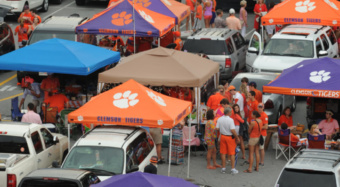 Clemson fans tailgate outside Death Valley.