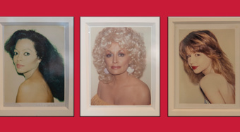 Polaroids of Diana Ross, Dolly Parton, and Pia Zadora on a red background.