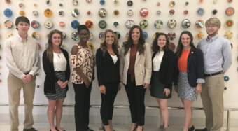 Students participating in Undergraduate Research Initiative (Left to right): Andrew Purcell, Erin McDaniel, Caterra Heard-Tate, Bailee Hawkins, Jessie Comer, Camille Smith, Texanna Miller, and Paul Millar
