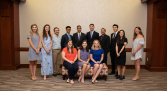This year's college level awardees posed for a photo with Dean Anand Gramopadhye after the Honors and Awards ceremony. Those standing are (left to right) Julia Ann Funk, Hailey N. Mundell, Thomas L. Randall, John Kimsey, Gramopadhye, Jake Flynn, Sakib Mahmud Khan, Gabriel S. Carillo, Sarah Baum and Sarah E. Sandler. Those seated are (left to right) Hannah Cash, Morgan Witherspoon and Alison McRory Balthaser.