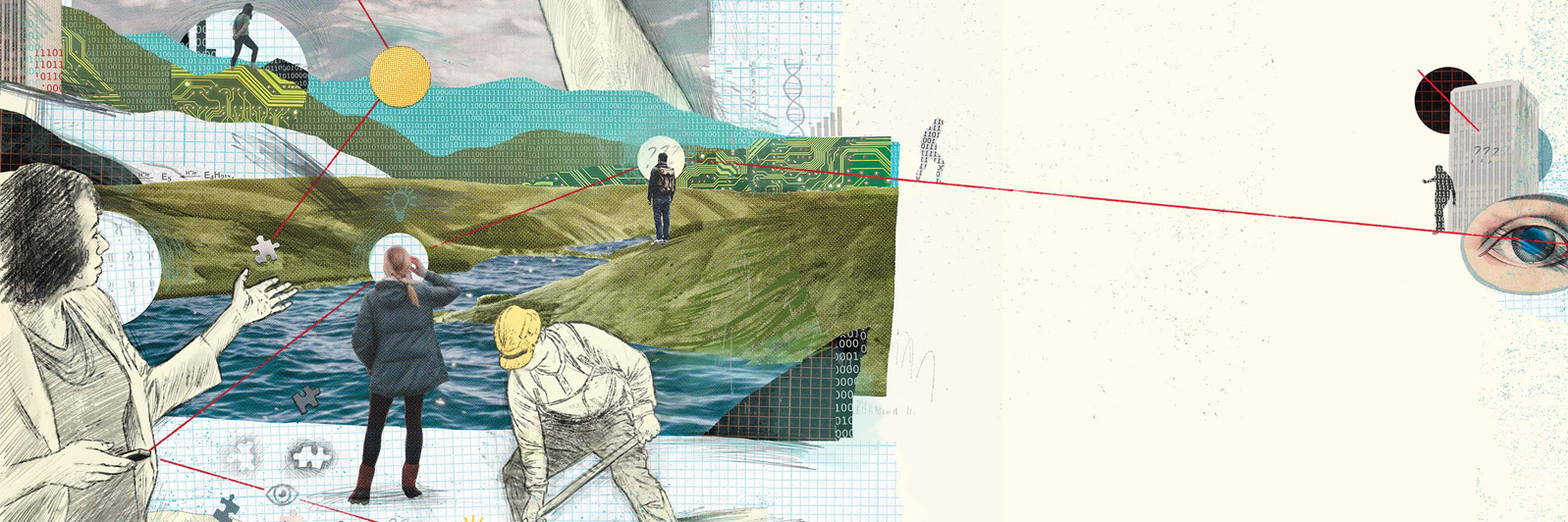 An illustrated graphic shows a man in a construction hat digging, a woman looking a stream, puzzle pieces, mountains and a woman teaching. It's meant to illustrate the idea of how big data is used in numerous ways.
