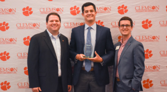 Andrew Levitt (middle) was named 2019 IFC Man of the Year during the recent Fraternity and Sorority Life Awards. He is pictured alongside Gary Wiser (left) and Joe Strickland of Fraternity and Sorority Life.