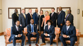 Representatives from Wells Fargo are joined by Emerging Scholars and Call Me MISTER participants