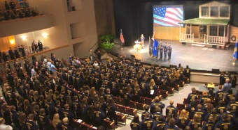 Gold and blue corduroy jackets, an FFA trademark for generations, gather for a patriotic start to the annual state convention.