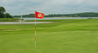 Flag blowing in wind on the Walker Golf Course
