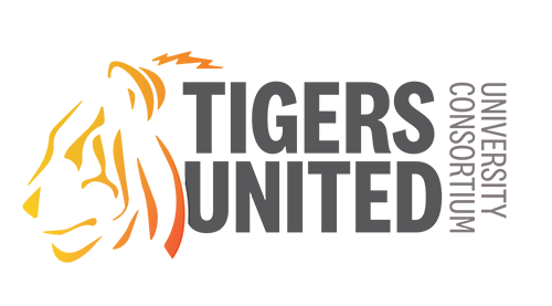 Image of Tigers United logo - graphic of side profile of tiger with TIGERS UNITED in large black font.