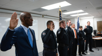 Officers are sworn in to Clemson University Police Department during a summer 2019 ceremony