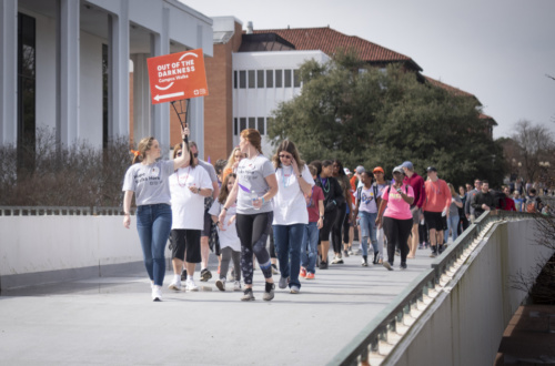 More than 300 people participated in the 4th annual Out of the Darkness walk for suicide prevention at Clemson University March 2, 2019. (Photo by Ken Scar)